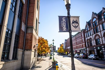 A view of the UConn Waterbury campus from the main street.